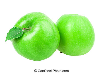 two green apple with a leaf