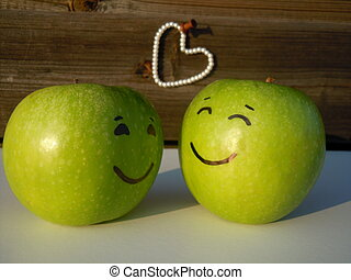 two green apples in love