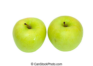two green apples on white background