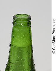 Two green beer bottles on white background