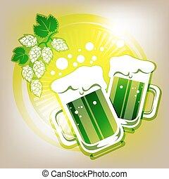 two green beer mugs