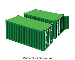 Two Green Cargo Containers on White Background