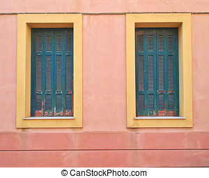 two green colorful house windows - two green house windows,...