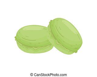 Two green cookies. Vector illustration on white background.