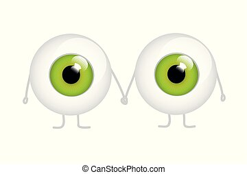 two green eyes holding hands cartoon