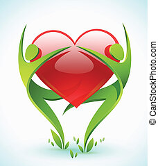 Two green figures embrace heart - Two green figures dance as...