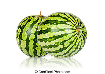 Two green fresh Watermelons