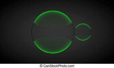 Two green glass balls. 3D render