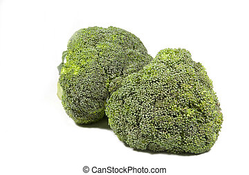 Two Green Heads of Broccoli on White Background