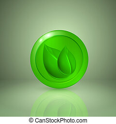 Two green leaves. Icon for app or web design