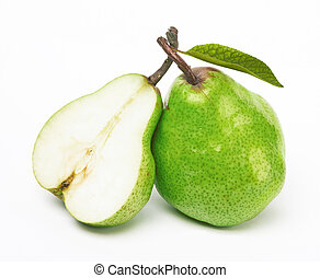 two green pears on white background