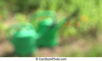 two green plastic watering cans
