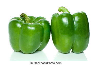 Two green sweet peppers