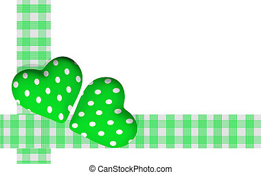 two green valentine hearts on white background - 3d rendering