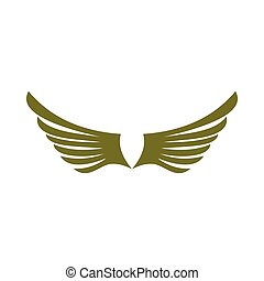Two green wing birds icon, flat style