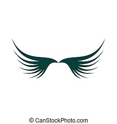 Two green wing icon, flat style