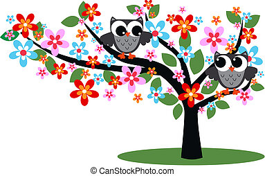 two grey owls sitting in a tree