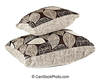 two grey pillows isolated on white