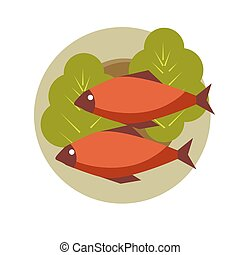 Two grilled fish on round plate with fresh lettuce