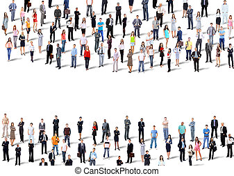 Two groups of business people. Isolated over white...