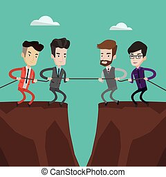 Two groups of business people pulling rope.