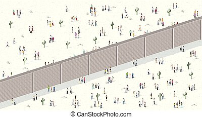 Two groups of people separated by wall.