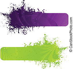 Two grunge banner in purple and green colors with wave...