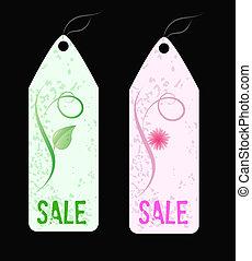 Two grunge florals sale shop tags.