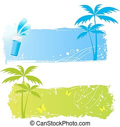 Palm grungy backgrounds in green and blue colors