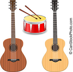 Two guitars with drum on a white background