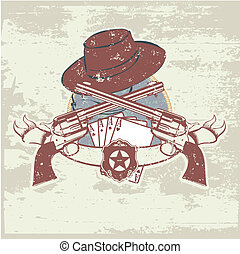 two guns and hat - insignia and banner with two guns and...