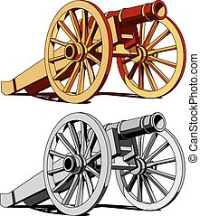 Two guns - Vector image of typical field gun of times of...