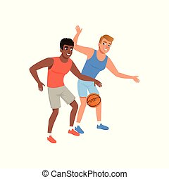 Two guy playing in basketball. Active lifestyle. Yyoung cheerful men in sportswear. Flat vector design