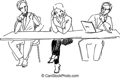two guys and a girl at the table in