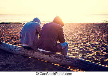 Two Guys outdoor - Toned Photo of Two Men on the shore at...