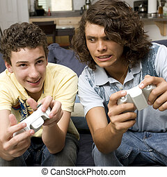 Two guys play video games