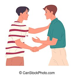 Two guys shaking hands when greeting each other