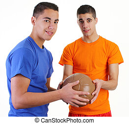 Two guys with a medicene ball