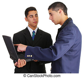 two guys with laptop