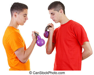 two guys with weights