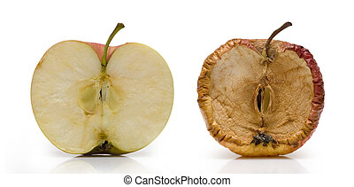 Two half of apple over white. Fresh and slice in decay.