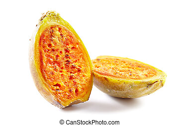 Two half pieces of cactus fruit on white