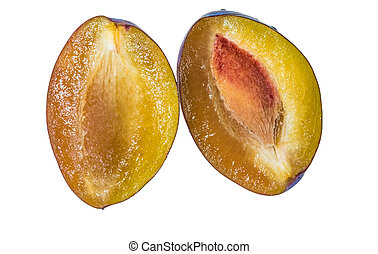 Two half ripe plums on white background