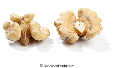 Two halfs of walnut, isolated on white