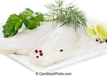 Halibut fillets on a white plate - Two Halibut fillets on a ...
