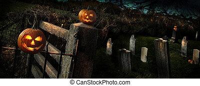 Two Hallo pumpkins sitting on fence