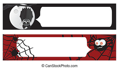 Two halloween banners for your design. Vector illustrations.