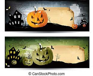 Two Halloween banners Vector