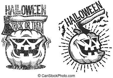 halloween logos in retro style