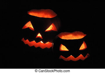 Two halloween pumpkins - Jack O Lanterns